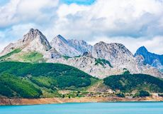 Reservoir in the mountains of Picos de Europa. Cantabrian, Riano, province of Leon. Castile and Leon, northern Spain.  royalty free stock image