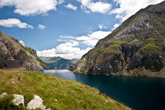 Reservoir in the mountains of the Spanish pyrenees Royalty Free Stock Photo