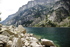 Reservoir in the mountains of the Spanish pyrenees Royalty Free Stock Photos