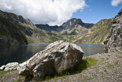 Reservoir in the mountains of the Spanish pyrenees Stock Images