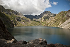 Reservoir in the mountains of the Spanish pyrenees Stock Photos