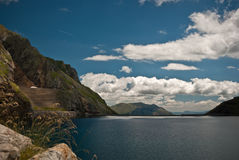 Reservoir in the mountains of the Spanish pyrenees Royalty Free Stock Photography