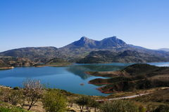 Reservoir and mountains. Stock Photography