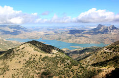 Reservoir near Zahara de la Sierra, Andalusia. This lake is located near Zahara in the midst of the Andalusian mountains in Spain and it is a fairly deep Stock Photo
