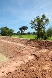 Reservoir in northeast Thailand. Reservoir construction for solving aridity problem in northeast Thailand stock photo