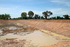 Reservoir in northeast Thailand. Reservoir construction for solving aridity problem in northeast Thailand stock images