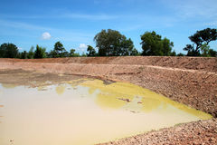 Reservoir in northeast Thailand. Reservoir construction for solving aridity problem in northeast Thailand royalty free stock photos