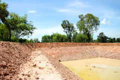Reservoir in northeast Thailand. Reservoir construction for solving aridity problem in northeast Thailand stock photos