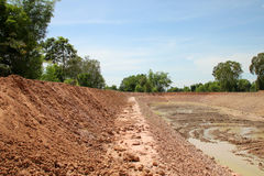 Reservoir in northeast Thailand. Reservoir construction for solving aridity problem in northeast Thailand stock photography