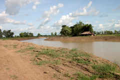 Reservoir in northeast Thailand. Reservoir construction for solving aridity problem in northeast Thailand stock image