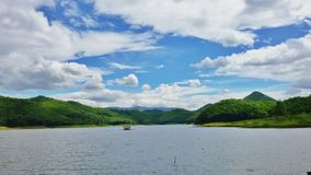 Reservoir in panarama. Bright sky over the reservoir Royalty Free Stock Photography