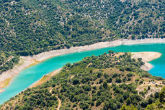Reservoir Pantano DE Siurana, Tarragona, Catalunya, Spanje Hoogste mening Royalty-vrije Stock Foto