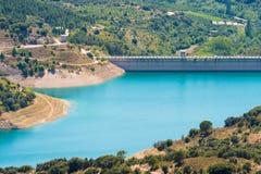 Reservoir Pantano DE Siurana, Tarragona, Catalunya, Spanje Hoogste mening Royalty-vrije Stock Afbeelding