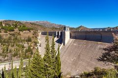 Reservoir Pantano De Siurana, Tarragona, Spain. Copy space for text. Royalty Free Stock Images