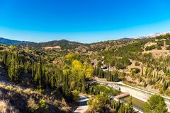 Reservoir Pantano De Siurana, Tarragona, Spain. Copy space for text. Royalty Free Stock Photos