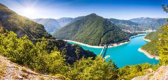 Reservoir. The Piva Canyon with its fantastic reservoir. Montenegro, Balkans, Europe. Beauty world Royalty Free Stock Photography