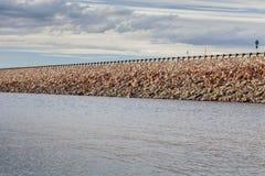 Reservoir rock dam Stock Image