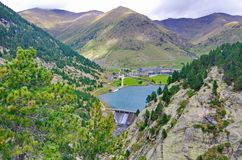 Reservoir, sancuary, and dam of Vall de Nuria Royalty Free Stock Image