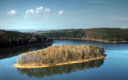 Reservoir sec - Czech republic. Lake Sec is situated in middle Europe Stock Photography