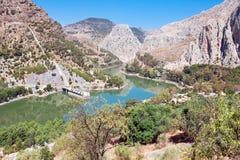 Reservoir Tajo de la Encantada on river Guadalhorce, Malaga prov Stock Photos