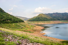 The reservoir is between the valley. In Nakhon Nayok, Thailand Stock Photo
