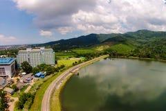 Reservoir von der Ansicht des Himmels Stockfotografie