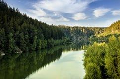 Reservoir. Water reservoir between forests under clouds stock photos