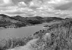 Reservoir Zahara de la Sierra in spring in Cadiz Stock Photo