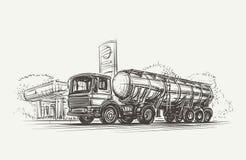 Reservoirvrachtwagen dichtbij Benzinestation Vector EPS10 Stock Afbeelding