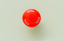 Reset ane rojo de la parada de emergencia Foto de archivo libre de regalías
