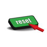 Reset button. Colorful reset button and red cursor isolated on white background Stock Image