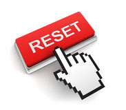 Reset button concept 3d illustration. Reset button 3d illustration isolated on white background Stock Images