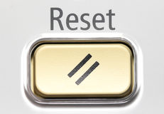 Reset Button. Macro shot from Top view Stock Image