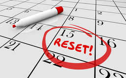 Reset Calendar Day Date Change New Start. 3d Illustration Stock Photos