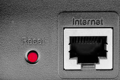 Reset the internet. Red button to reset the internet. Concept of new start up or loose connection Royalty Free Stock Photography