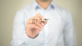 Reset, Man Writing on Transparent Screen Royalty Free Stock Photos