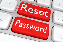 Reset Password concept. 3D illustration of computer keyboard with the print Reset Password on two adjacent red buttons Stock Images