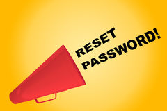 Reset Password! concept. 3D illustration of RESET PASSWORD! title flowing from a loudspeaker Royalty Free Stock Photo