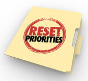 Reset Priorities Manila Folder Files Top Most Important Jobs Tas Royalty Free Stock Image
