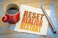 Reset, realign, restart concept on napkin. Reset, realign, restart concept - word abstract on a napkin with a cup of coffee royalty free stock photography