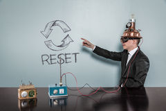 Reset text with vintage businessman Royalty Free Stock Photography