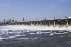 Reset of water on hidroelectric power station stock images