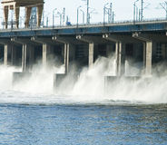 Reset of water at hidroelectric power station stock photography