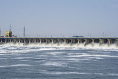 Reset of water on hidroelectric power station. Reset of water on hydroelectric power station on river Royalty Free Stock Image