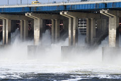Reset of water on hidroelectric power station. Reset of water on hydroelectric power station on river Royalty Free Stock Images