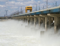 Reset of water at hydroelectric power station. On the river Stock Photography