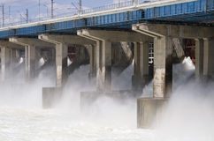 Reset of water at hydroelectric power station. On the river Stock Image