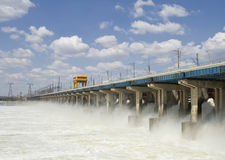 Reset of water at hydroelectric power station. On the river Royalty Free Stock Photography
