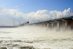 Reset of water at hydroelectric power station. On the river Royalty Free Stock Photos