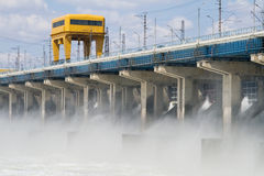 Reset of water at hydroelectric power station. On the river Stock Photos